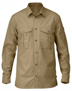 FJÄLLRÄVEN Greenland Shirt.  Hardwearing yet still well ventilating, unwaxed, soft and quick drying G1000 fabric has in-built UV protection equivalent to UPF 40+.  Two spacious chest pockets. Press buttons in the front, on the sleeve cuffs and pockets.
