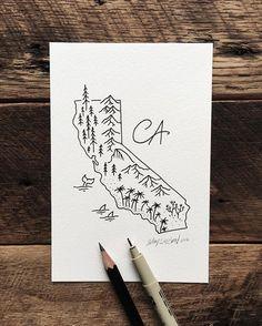 """For my CA friends. #california #art #illustration"" Sam Larson - incredible illustrator!"