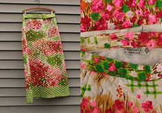 Vintage VTG VG 1960's 60's 1970's 70's White and Neon Floral Quilted Maxi Skirt High Waisted Hippie Retro Boho Women's by Adelaar's 12 by foxandfawns on Etsy