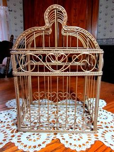 Adorable Gold Wire Bird Cage Very Decorative