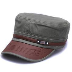 Autumn and Winter Fashion Adjustable Baseball Cap Casual Leather Cap Flat top Military Cap Leather hat Cap