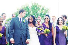Gray tuxedo's and purple bridesmaid dresses