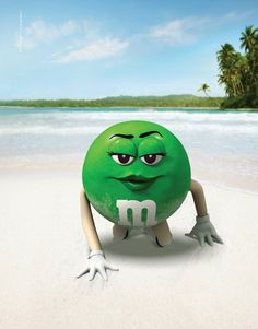 """M&M's Candies, """"Ms. Green in & out of swimsuit in New Zealand"""" 2011 Magazine Ad M&m Characters, M M Candy, Green Beach, Painted Gourds, Melt In Your Mouth, All I Ever Wanted, Green Life, Getting Old, Cool Stuff"""