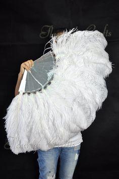 White Ostrich Feather Fan