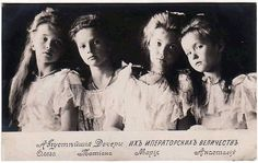 A formal portrait of (from left to right): Grand Duchesses Olga, Tatiana, Maria, and Anastasia, 1906.