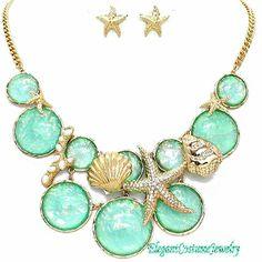Caribbean Green Opal Iridescent Elegant Starfish Necklace Set $27.99 #7710  www.ElegantCostumeJewelry.com