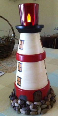 A lighthouse out of terra cotta pots. This would be a cute fairy/gnome house if one had a pond to set it by..