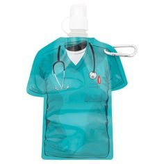 A waste-reducing alternative to disposable bottles, this flat scrub-shaped container evolves into a cool bottle when filled with water. It's the perfect gift for nurses and scrub-wearing healthcare professionals!