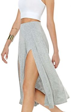 Style Trend: Grey + White! Comfy Summer Fashion! Grey Elastic Waist Front Split Skirt #Grey_and_White #Comfy #Summer #Fashion