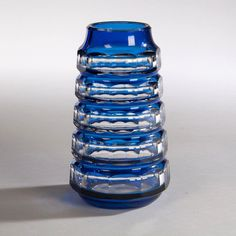 Art Deco Blue over Clear cut glass vase by Val St Lambert