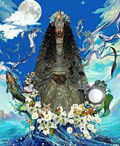 Iemanjá Black Girl Art, Black Women Art, Black Art, Art Women, African Mythology, African Goddess, Oshun Goddess, Goddess Art, Yemaya Orisha