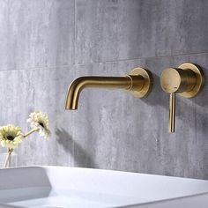 Gold Bathroom Faucet, Brass Bathroom Fixtures, Modern Bathroom Faucets, Wall Mounted Sink, Wall Mount Faucet, Bathroom Plumbing, Bathroom Hardware, Master Bathroom, Bathroom Ideas