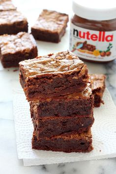 One Bowl Nutella Fudge Brownies - Baker by Nature