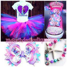 Frozen tutu set, frozen birthday outfit, frozen converse,