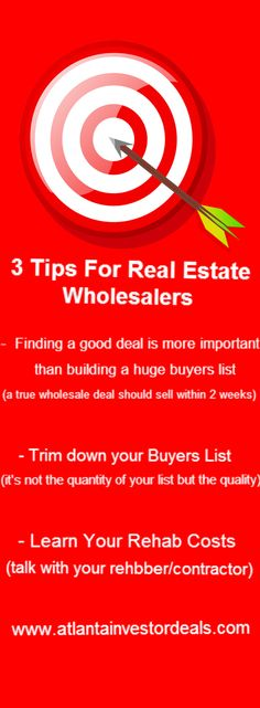 3 tips for real estate wholesalers.  http://atlantainvestordeals.com