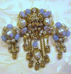 Spectacular-Signed-Miriam-Haskell-Intricate-Special-Brooch-and-Earrings-Set