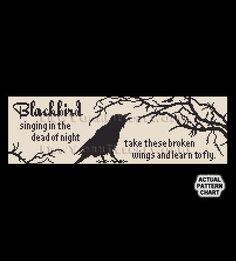 Raven Cross Stitch, Blackbird Cross Stitch, Crows Silhouette, Cross Stitch Bird…