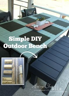 Simple DIY Outdoor Bench - super EASY build from recycled wood! - #diy #outdoorbench #outdoorfurniture #diybuild artsychicksrule