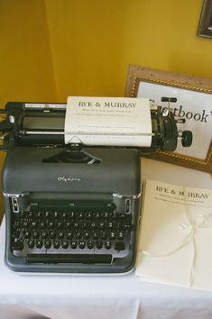 Rustic Farm Wedding Typewriter Guest Book http://www.petecranston.com/