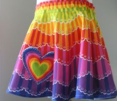 """pre printed rainbow Fabric- for a A cheerful, colorful circle skirt, fitting a toddler's 20"""" waist. Cut out more/less of the center circle to fit a larger/smaller waistline. Coordinating heart-shaped applique and belt. Bonus rainbow fabric in wider fabric options. :)  via Spoonflower"""