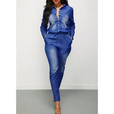 Turndown Collar Button Up Drawstring Waist Denim Jumpsuit ($37) ❤ liked on Polyvore featuring jumpsuits, navy blue, long sleeve jump suit, skinny jumpsuit, denim jumpsuit, print jumpsuit and patterned jumpsuit