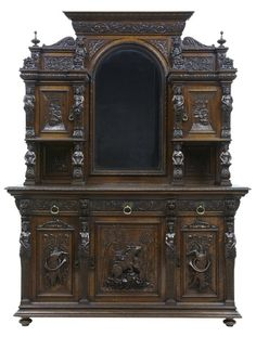 OnlineGalleries.com - 19TH CENTURY PROFUSELY CARVED OAK BUFFET SIDEBOARD Condition: Excellent Origin: British Circa: 1870