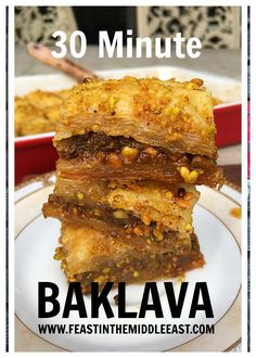 A baklava shortcut that saves cup of butter, retains the flavor, yet takes a fraction of the time! A great dessert recipe to give as a gift, or make guests feel special during the holidays. Great Desserts, Dessert Recipes, East Meals, Pistachio Baklava, Middle East Food, Baklava Recipe, Egyptian Food, Vegan Recipes, Cooking