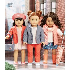 Sew cute casual wear for an American Girl doll. The pattern includes tops, skirts, pants, jackets, and more that you can mix and match to create many different looks. American Girl for Simplicity sewing patterns. Ag Doll Clothes, Doll Clothes Patterns, Doll Patterns, Clothing Patterns, Ag Dolls, Girl Dolls, American Girl Crafts, American Girls, Wellie Wishers