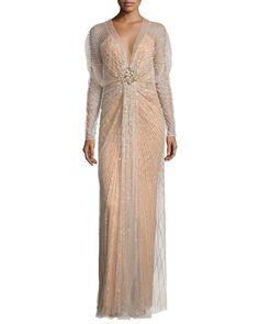 Long-Sleeve Embellished-Overlay Gown, Illusion, Women's, Size: UK8/4 - Jenny Packham