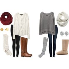 Fall Outfits.. need some knee high socks in cream and grey! aahh...