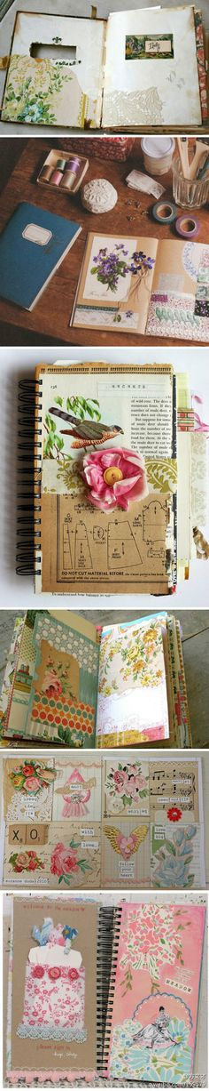 Beautiful junk journal / like the opening in the front cover...smash book
