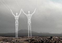 «Tierra de gigantes». Proyecto de torres de electricidad que recuerdan figuras humanas.
