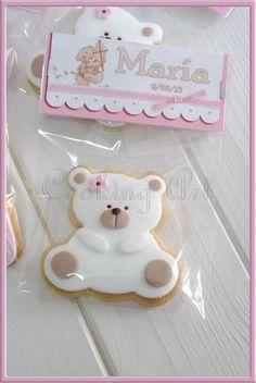 Galletas osito. Bautizo. Cooking Art La Muela. Deco Baby Shower, Torta Baby Shower, Baby Shower Cookies, Shower Cakes, Baby Boy Shower, Teddy Bear Party, Teddy Bear Cakes, Bear Cookies, Cute Cookies