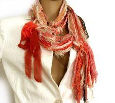 Gypsy hippie scarf Freeform scarf lariat Fiber by allmadewithlove