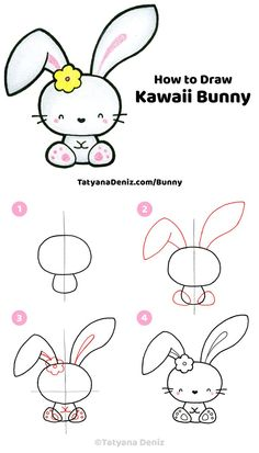 How to draw a cute Easter bunny step-by-step tutorial Easy step-by-step drawing tutorial for how to draw a cute kawaii Easter bunny. Drawing tutorial with FREE printable PDF, drawing tips, and materials. Doodles Kawaii, Cute Kawaii Drawings, Easy Drawing Steps, Step By Step Drawing, Drawing Tips, Drawing Ideas, Cat Drawing Tutorial, Paper Drawing, Drawing Drawing