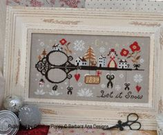 """""""Let It Snow"""" is the title of this cross stitch pattern from Barbara Ana Designs."""
