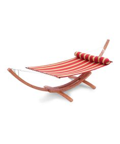 Take a look at this Red Stripe Wood Arc Hammock Set on zulily today!