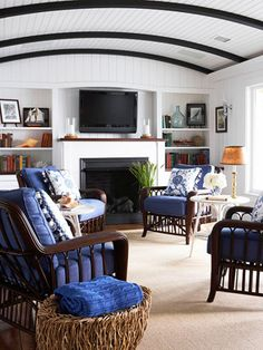 Curved ceiling with beaded board and beams