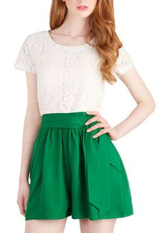 Love the Vibrant Green Bottoms on this Romper