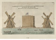 """1798: """"An Exact representation of a raft, and its apparatus, as invented by the French for their proposed invasion of England"""""""