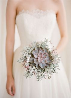 Purple rose succulent and dusty miller: http://www.stylemepretty.com/2015/04/21/20-green-bouquets-for-earth-day/