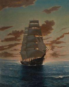 Anton Otto Fischer (1882 - 1962) - Sailing ship at sunset.