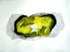 Minéral citron vert Encre sur papier 80 x 60 cm