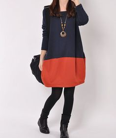 Blue cotton dress Long sleeve dress cotton by originalstyleshop, $59.50