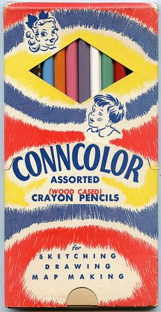 Love the cute illustrated girl on this vintage box of coloured pencil crayons. #vintage #stationery #office #school #supplies #pencil #crayons #1940s #1950s #retro