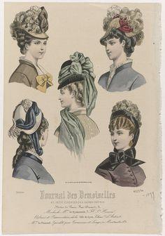 Anonymous   Journal des Demoiselles, Octobre 1877, No. 4123 bis : Modes de Mme De Bysterweld..., Anonymous, Th. Dupuy & Fils, 1877   Vijf vrouwenbustes met verschillende hoeden. Volgens het onderschrift zijn deze van Busterweld. Hieronder enkele regels reclametekst voor verschillende producten. Prent uit het modetijdschrift Journal des Demoiselles (1833 -1922).
