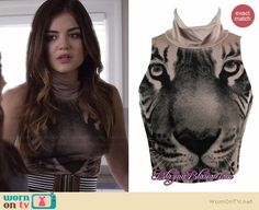 Aria's tiger face crop top on Pretty Little Liars.  Outfit Details: http://wornontv.net/34903/ #PLL