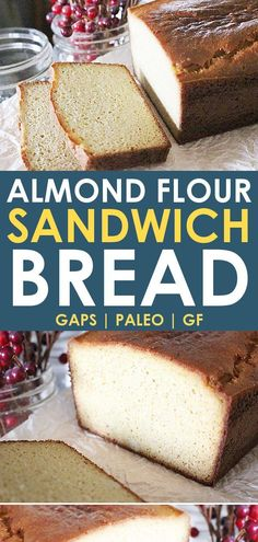 This easy almond flour bread recipe is perfect for anyone needing to eat a low c. This easy almond flour bread recipe is perfect for anyone needing to eat a low carb diet, like GAPS, paleo, and keto! It's the best paleo bread for sandwiches too! Low Carb Almond Flour Bread Recipe, Keto Banana Bread, Coconut Flour Bread, Keto Flour, Muffins With Almond Flour, Paleo Pancakes Almond Flour, Gluten Free Bread Recipe Easy, Almond Flour Biscuits, Almond Flour Cakes