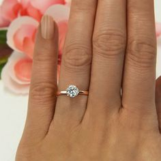 1 ct 4 Prong Engagement Ring, Solitaire Ring, Man Made Diamond Simulant, Wedding Ring, Promise Ring, Sterling Silver, Rose Gold Plated