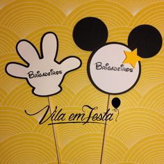 Plaquinha de Identificação Tema Mickey Mouse R$5,00 unidade. Monte sua Festa, Papelaria Personalizada